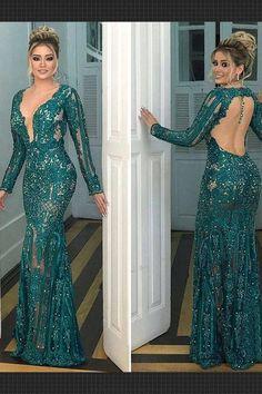 Prom Dresses 2019, V Neck Prom Dress, Mermaid Evening Dress, Prom Dress Long, Prom Dress V-neck, Evening Dress With Sleeves #Prom #Dresses #2019 #Dress #Long #Evening #With #Sleeves #V #Neck #Mermaid #Vneck