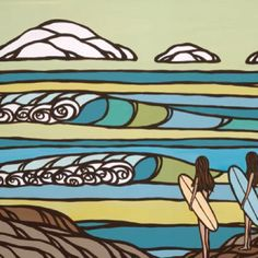 Surf art by Heather Brown - Original paintings & prints - waves, ocean, surf art from hawaii. Canvas Artwork, Canvas Art Prints, Big Canvas, Canvas Paintings, Heather Brown Art, Hawaiian Art, Folk Art, Original Paintings, Illustration