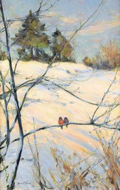 Two Birds in Winter : Karl Nordstrom oil : Circa 1891 : Fine Art Giclee  #Poster