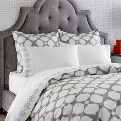 Hazel Loves Design: GREY and WHITE in the bedroom. This is so pretty. I'd pop it with some teal  Jonathan Adler-duvet cover