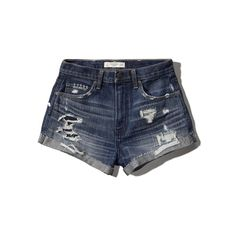Abercrombie & Fitch High Rise Festival Short ($23) ❤ liked on Polyvore featuring shorts, abercrombie, jean shorts, dark wash, ripped denim shorts, distressed denim shorts, high-waisted jean shorts and denim shorts