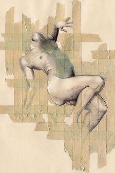 """Cintas"" - Chamo San; Barcelona, Spain {multimedia masking tape discreet nude figure drawing}"