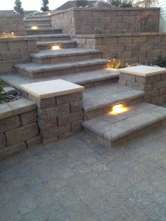 Anchor walls, columns and steps with lighting