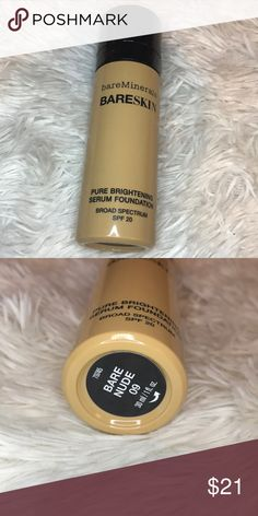 Bare minerals bare skin serum foundation Bare minerals serum foundation. GREAT for dry skin! It hydrates your face! It's amazing!  It was not my shade! Only used once. Practically new!  Sanitized ELF Makeup Foundation
