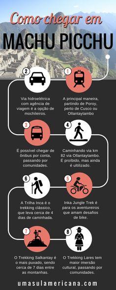 8 maneiras de chegar em Machu Picchu - Veja nesse post dicas, informações e preços sobre como chegar em Machu Picchu, seja de trem, de bike ou caminhando. Post completo com o passo a passo desde Cusco até Machu Picchu.