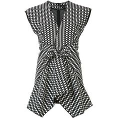 Proenza Schouler Geometric Print Knot Top ($1,425) ❤ liked on Polyvore featuring tops, kirna zabete, kzloves /, prints please, knot top, viscose tops, sleeveless tops, proenza schouler and asymmetrical hem top