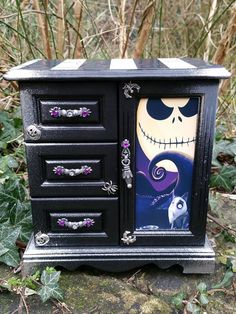 Gorgeous (and I believe home made) Nightmare Before Christmas dresser nightstand