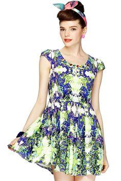 ROMWE | Diamante Floral Print Green Dress, The Latest Street Fashion #ROMWE