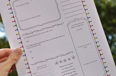 This site is amazing! First you see pictures of many, many journal pages. Then click on the page number to learn how to present it, then download it for free! She even has a choice of using the border or not!!! Outstanding!