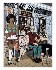 """Entitled """"Enjoy the ride - Pearl Jam Wrigley Field"""", this screen print by Faile is an edition of Signed and numbered by the artists. Rock Posters, Band Posters, Music Posters, Screen Print Poster, Poster Prints, Art Prints, Gig Poster, Pearl Jam Chicago, Woodstock"""