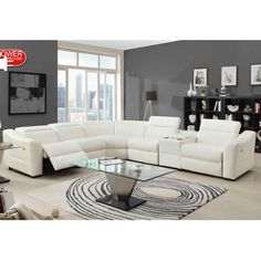 Homelegance Instrumental Reclining Sectional In White Leather