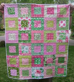 Pink and Green Square-in-Square Baby Quilt by The Spotted Elephant Boutique, via Flickr