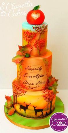 """Autumn Sunset"" Cake - Cover Cake for Cake International magazine by Clairella…"