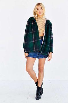 BB Dakota Kellen Plaid Sherpa-Hood Jacket - Urban Outfitters