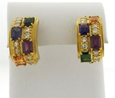 18k Gold Diamond Tourmaline Amethyst Half Hoop Earrings Featured in our upcoming auction on October 20!