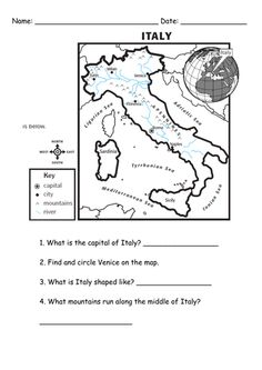 Italian activity sheet free printables - Google Search