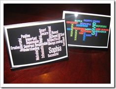 Fantastic end of the year present for students- create a wordle for each of them and put in a frame from the Dollar Tree. Very inexpensive and easy to personalize.  LOVE LOVE this idea!