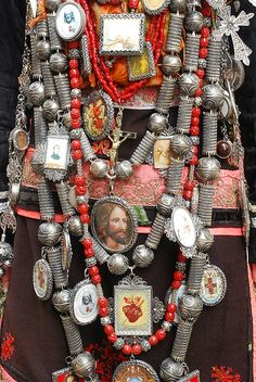 Detail of the jewellery worn with the Spanish traditional costume from the mountainous area of La Alberca, province of Salamanca in the autonomous community of Castilla y León.
