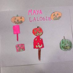 #Frutas, #hortalizas y demás cosas de #Halloween por Maya de 5 años.  #art #arte #artesalamanca #artwork  #cubogalerianiños #children…