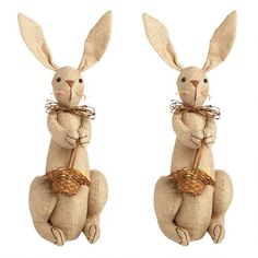 """13"""" Burlap Bunnies with Easter Baskets, Set of 2 