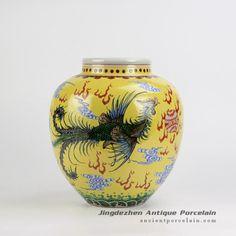 Yellow background hand paint phoenix and dragon pattern China style ceramic jar