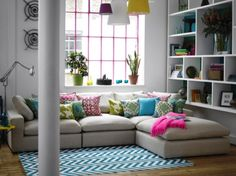 Corner Sofas For Small Rooms. Love the pillows and the pink blanket for a pop of color