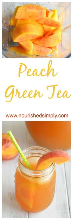 Dreaming of Summer and sipping this refreshing peach green tea made with fresh peaches. This is a perfect summer drink recipe. Dreaming of Summer and sipping this refreshing peach green tea made with fresh peaches. This is a perfect summer drink recipe. Green Tea Recipes, Summer Drink Recipes, Summer Drinks, Refreshing Drinks, Fresh Peach Recipes, Winter Recipes, Summer Parties, Cold Drinks, Healthy Drinks