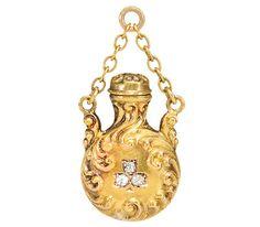 Scents Around - Art Nouveau Perfume Bottle Pendant   c.1900