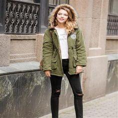 Women Parka Fashion Autumn Winter Warm Jackets Women Fur Collar Coats Long  Parkas Hoodies Office Lady 6c44bf21dd30