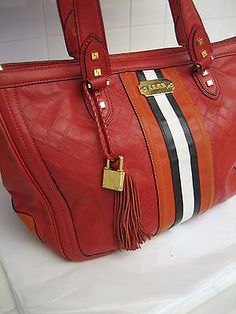 Authentic Lamb Gwen Stefani Large Red Leather Satchel Handbag Free Shipping