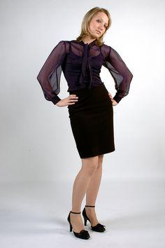 silk blouse and pensil skirt