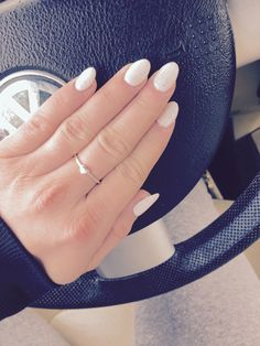 White frost gel over acrylic. Almond shaped, oval shaped, short stilletto.
