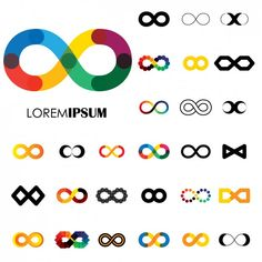Coloured infinite symbols collection Free Vector