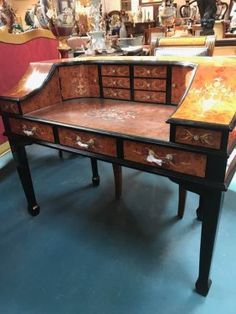 Half Moon Shaped Secretary Desk With Inlay Floral