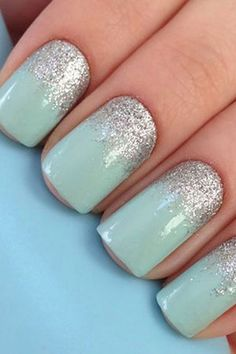 Wedding palette for the fabulous bride! Aqua and silver nails                                                                                                                                                                                 More