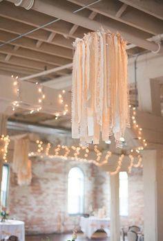 Neutral Wedding Color Palette Ideas: Ribbon and Lace Chandelier | Brides.com