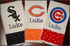 Embroidered Chicago Bears, Cubs and White Sox Burp Cloth Set - Monogrammed and Personalized. $33.00, via Etsy.