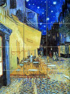 Art van Gogh Starry Night Sky Cafe Mural Tumbled Marble Decor Tile #165 #wwwFlekmanArtcom