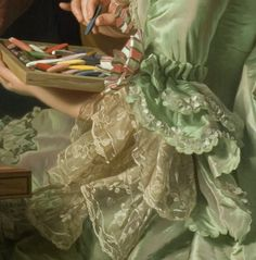 """the-garden-of-delights: """" """"Self-Portrait with his Wife Marie-Suzanne Giroust painting Henry Wilhelm Peills's portrait"""" (1767) (detail) by Alexander Roslin (1718-1793). """""""