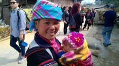 Our wonderful trek guide in Sapa, Vietnam. Some of the tourists were struggling while the guides were easily trekking along with babies in tow too!