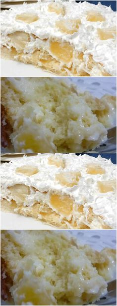 make sponge cake as usual put in a greased pan with margarine, # recipe # cake # pie # sweet # desse Sweet Desserts, Delicious Desserts, Pineapple Ice Cream, Cake Recipes, Dessert Recipes, Chocolate Cheesecake, Sponge Cake, Cream Cake, Confectionery