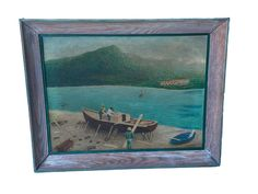 With boat builders on canvas in custom frame.  Signed, KF Kreakel