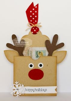 Happy Holidays Pocket Tag/ Gift Card Holder by Kerri Michaud #Tags, #GiftGiving, #Christmas