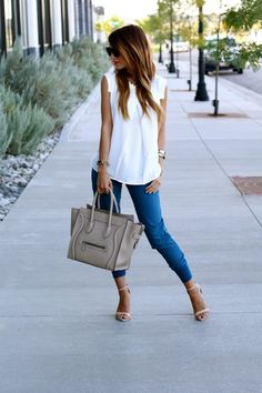 simple but very chic #outfit, #blue pants + #white #tee