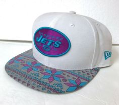 Details about s m adjustable NEW YORK JETS STRAPBACK HAT White Purple  Geometric Era Women Men 6b9d38334a30