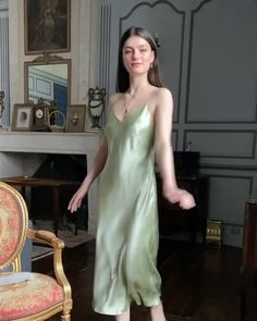Mint Midi Slip Dress - Excess Only Slip Dress Outfit, Dress Outfits, Fashion Dresses, Silk Slip, Slip Dress Silk, Silk Midi Dress, Lace Slip, Satin Slip, Silky Dress