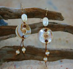 White Mother of Pearl Earrings--knotted onto large white pearls w/ tiger nassa shells, Swarovski crystals, seed beads,  gold filled earwires