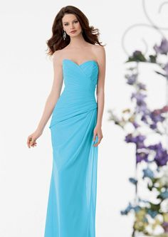 2015 Sweetheart Sleeveless Ruched Chiffon Light Blue Floor Length Bridesmaid / Prom Dresses By Jordan 760
