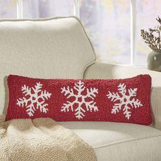 Snowflake Trio Hooked Lumbar Pillow