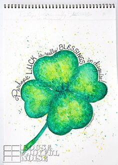 A watercolor painting, created as a piece of art for  March/St. Patrick Day themed mantels decor.  crafts, art, St-Patricks-Day, mantels-decor, watercolor, 4-leaf-clovers, blessings, luck
